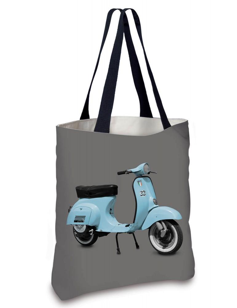 Sac Cabas vintage Scooter bleu gris 45x45