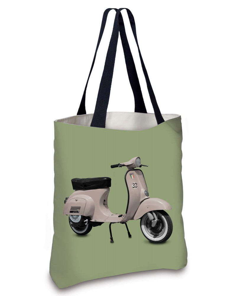 Sac Cabas Vintage Scooter rose vert 45x45 COAST AND VALLEY