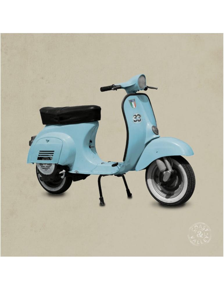 Tableau vintage scooter bleu beige 40 x 40 cm COAST AND VALLEY