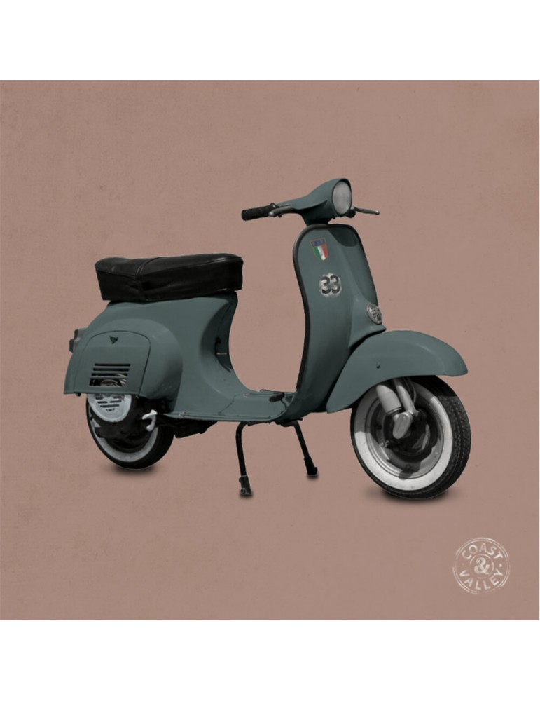 Tableau vintage scooter kaki rose 40 x 40 cm COAST AND VALLEY