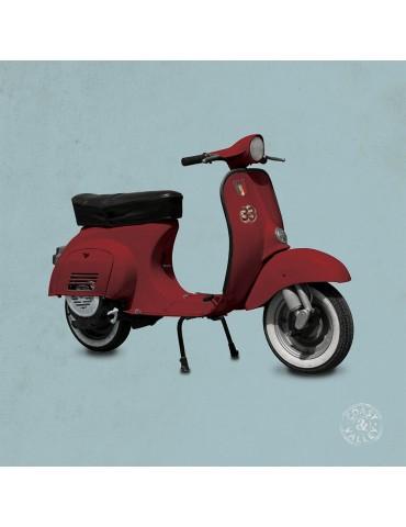Tableau vintage toile scooter rouge bleu 40 x 40 cm