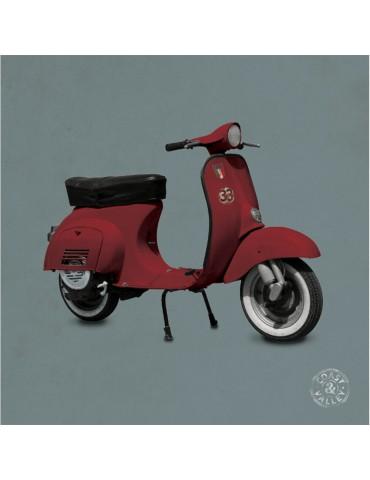 Tableau vintage toile scooter rouge gris 40 x 40 cm