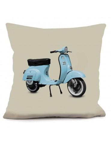 Coussin déco vintage Scooter bleu beige 40 x 40 cm