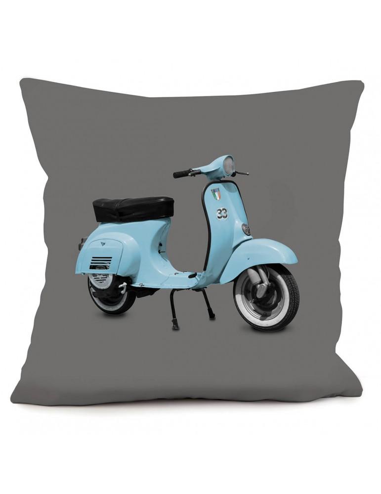 Coussin décoratif vintage Scooter bleu gris 40 x 40 cm