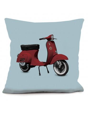 Coussin vintage déco Scooter rouge bleu 40 x 40 cm