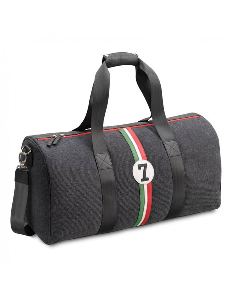sac de voyage ou sport pour homme tissu et cuir upcycl s. Black Bedroom Furniture Sets. Home Design Ideas