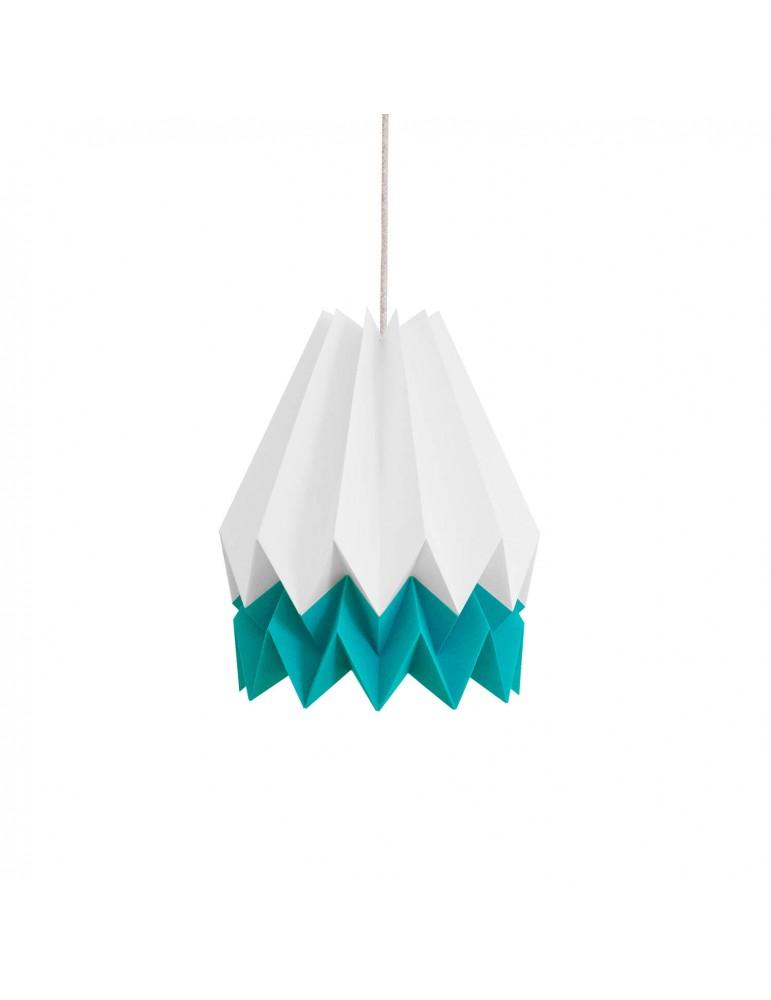 Abat-jour déco blanc et bleu turquoise en papier ORIKOMI