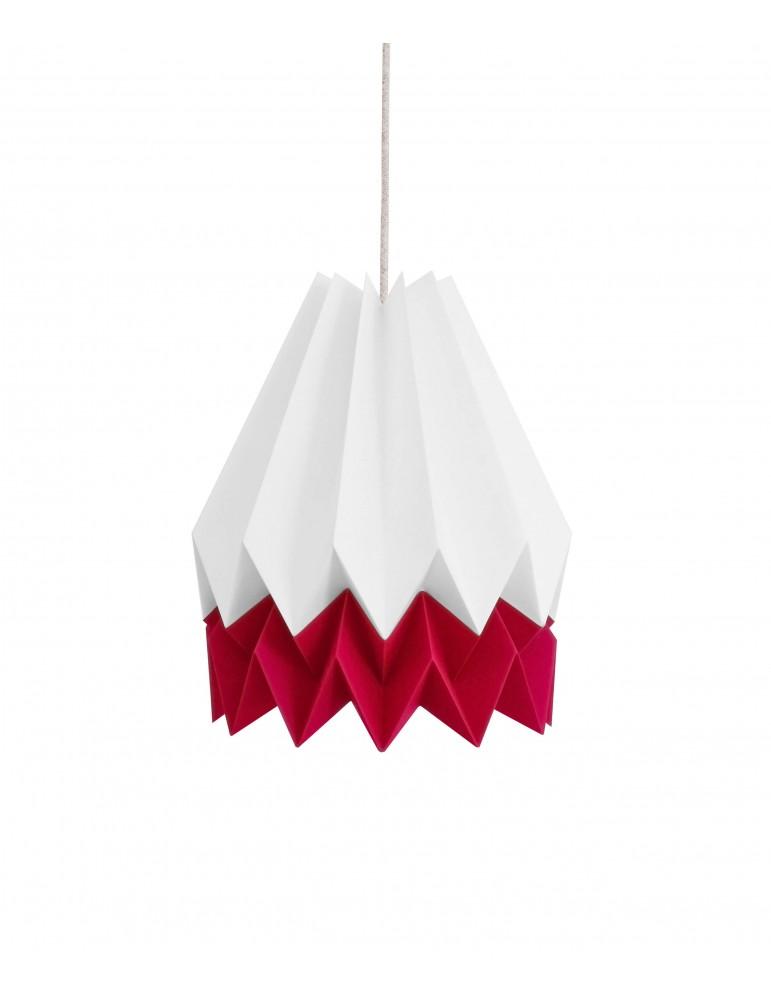 Abat-jour déco blanc et rouge en papier ORIKOMI