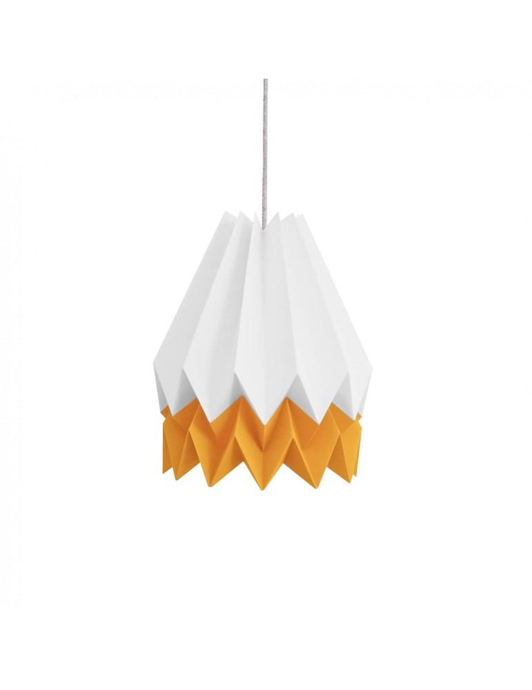 Abat-jour déco blanc et jaune mangue en papier ORIKOMI