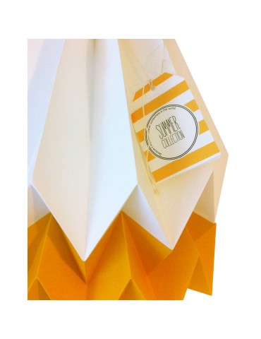 Abat-jour déco blanc et jaune mangue en papier ORIKOMI 1