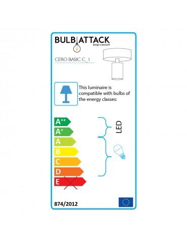 Classe énergie applique design noir et feuilles de cuivres cerf C1 BULB ATTACK