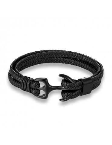 Bracelet pour homme ancre et cuir noir