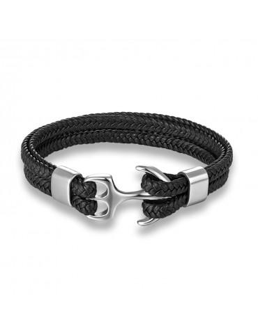 Bracelet homme ancre argent cuir noir