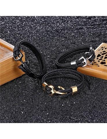 bracelet homme ancre et cuir