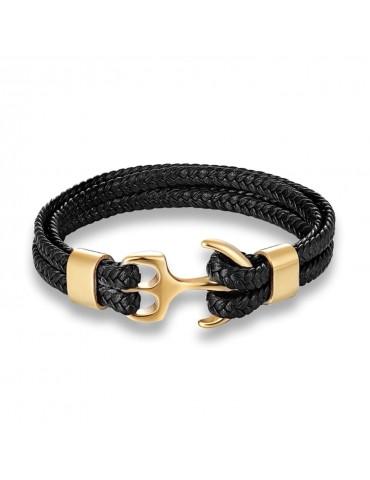 Bracelet pour homme ancre doré cuir noir