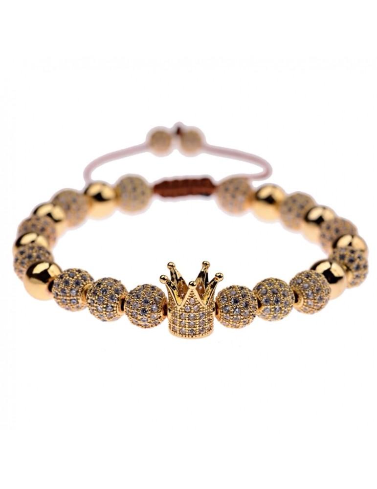 Bracelet luxe Couronne pierres dorées