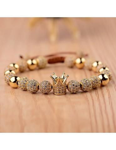 Bracelet luxe Couronne pierres dorées 1