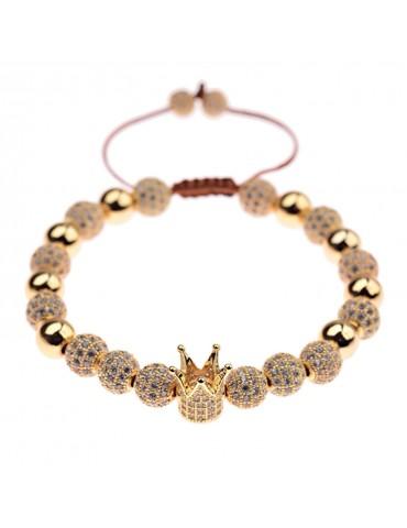 Bracelet luxe Couronne pierres dorées 2