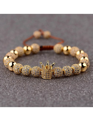 Bracelet luxe Couronne pierres dorées 3
