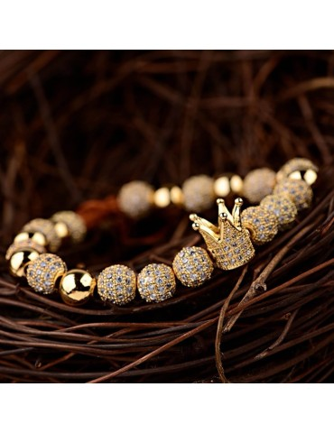 Bracelet luxe Couronne pierres dorées 4