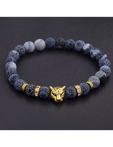 Bracelet tête de léopard pierres naturelles bleu 1