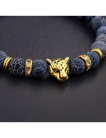 Bracelet tête de léopard pierres naturelles bleu 2