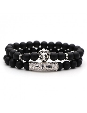 Bracelet 2 pièces tigre argent pierres naturelles noir mat