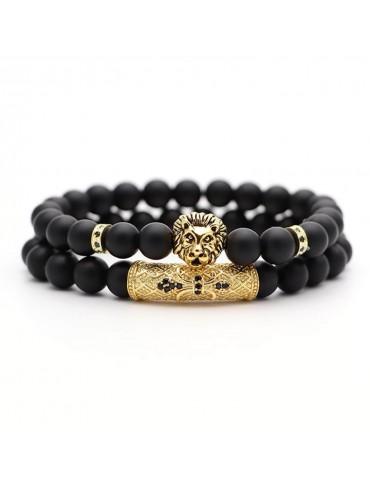 Bracelet 2 pièces tigre doré pierres naturelles noir mat