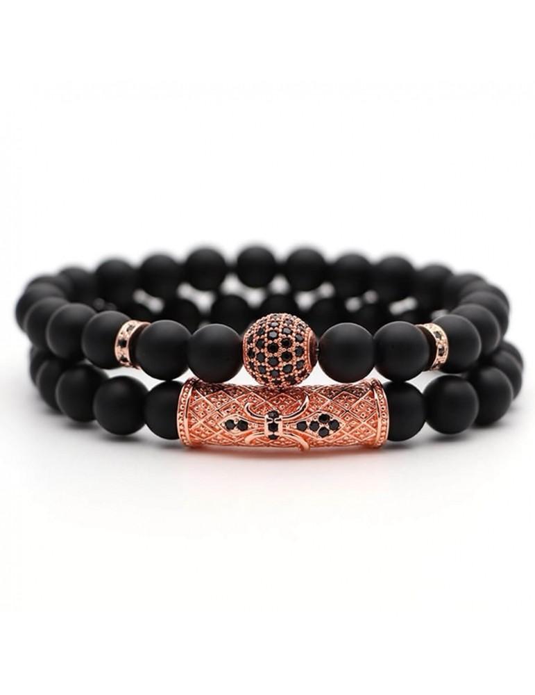 Bracelet 2 pièces boule diamants cuivre pierres naturelles noir mat