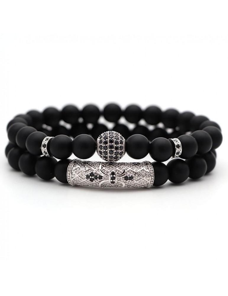 Bracelet 2 pièces boule diamants argent pierres naturelles noir mat