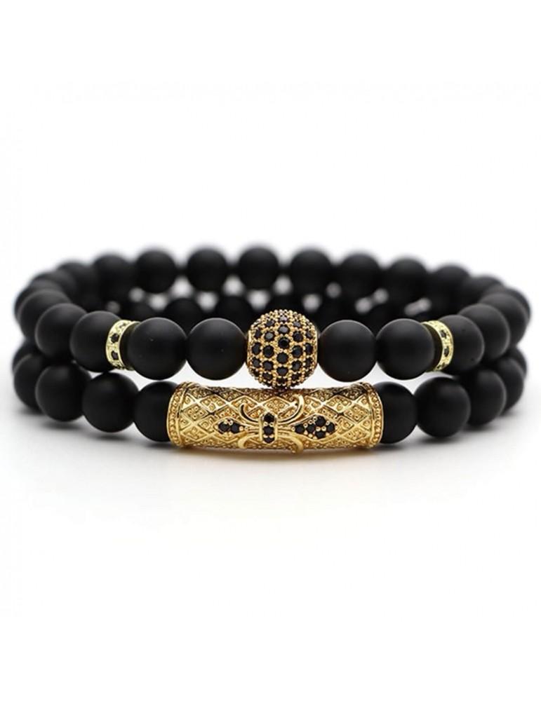 Bracelet 2 pièces boule diamants doré pierres naturelles noir mat