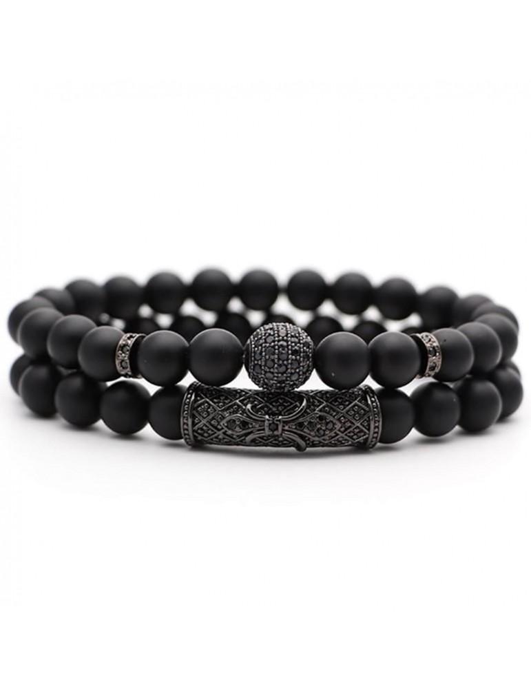 Bracelet 2 pièces boule diamants noir pierres naturelles noir mat