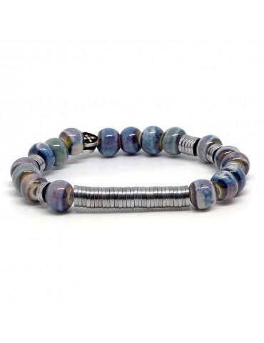 Bracelet pour homme perles en porcelaine Daireaux