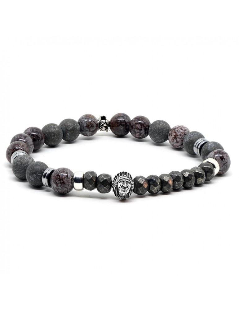 Bracelet pour homme perles et tête indien Égana