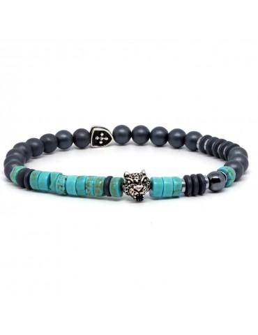 Bracelet pour homme perles turquoise tête jaguar Dolores