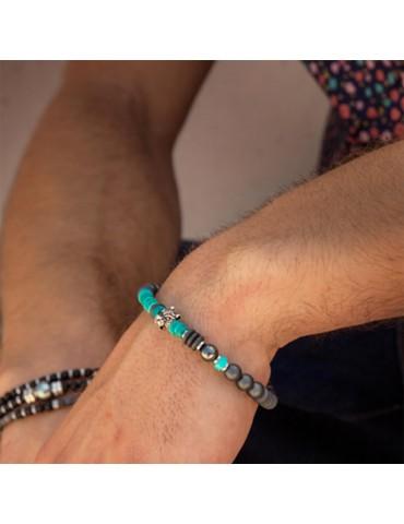 Bracelet pour homme perles turquoise tête jaguar Dolores 2
