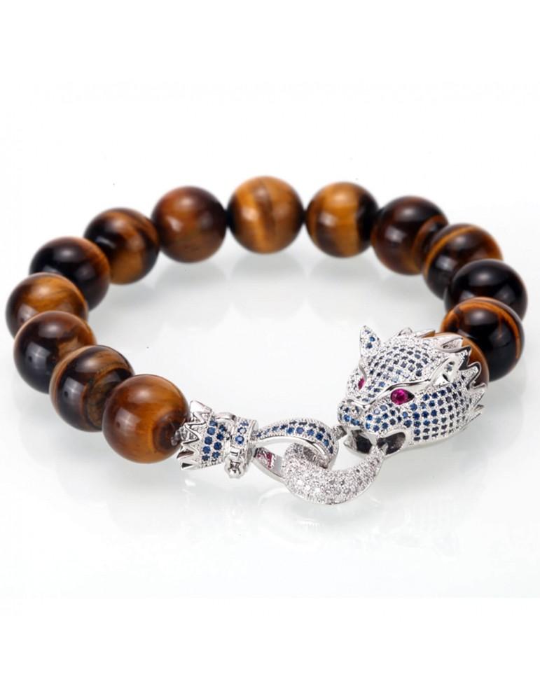 Bracelet pour homme perles marron tête de dragon