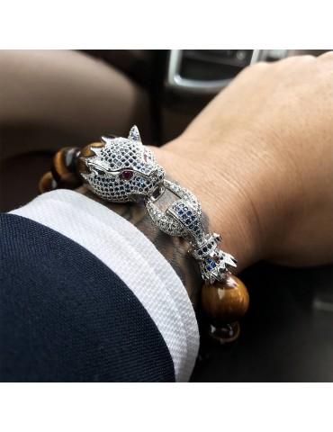 Bracelet pour homme perles marron tête de dragon 1