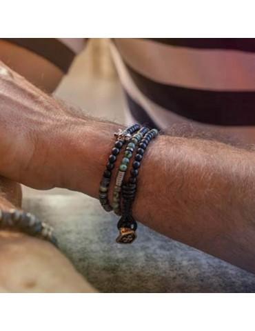 Bracelet pour homme 3 tours tête de jaguar Delfin