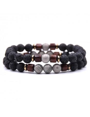 Bracelet 2 pièces pierres naturelles gris bois lave