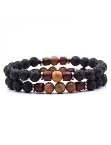 Bracelet 2 pièces pierres naturelles marron bois lave