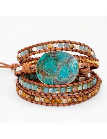 Bracelet Boho pour femme 5 tours pierre turquoise