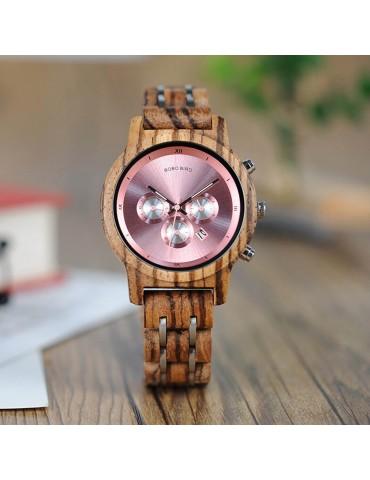 Montre en bois pour femme cadran rose 1