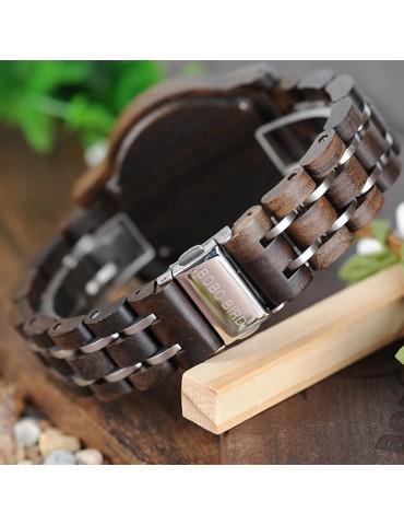 Montre en bois mixte cadran noir 1