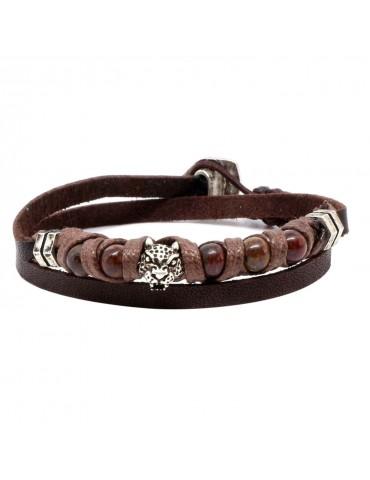 Bracelet pour homme 2 tours en cuir delgado