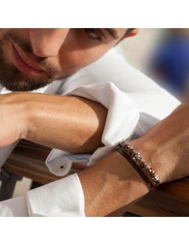 Bracelet pour homme 2 tours en cuir delgado 1
