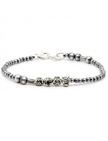Bracelet pour homme perles en argent chaco