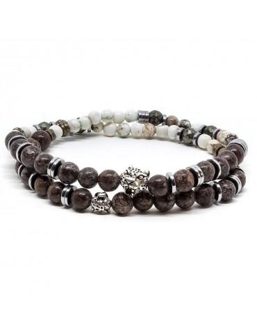 Bracelet pour homme perles jaspe mattes donaldo