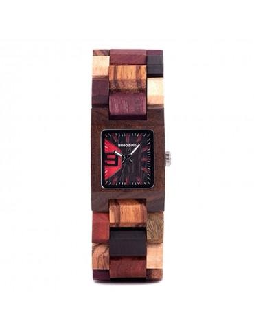Montre en bois multi-couleur pour femme cadran carré noir rouge