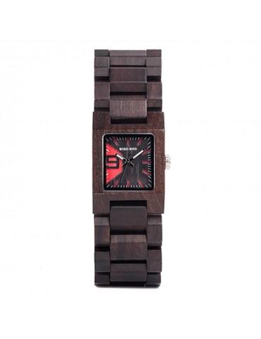 Montre en bois foncé pour femme cadran carré noir rouge